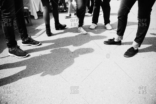Low angle view teenagers footwear