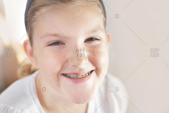 Portrait of a girl wearing braces