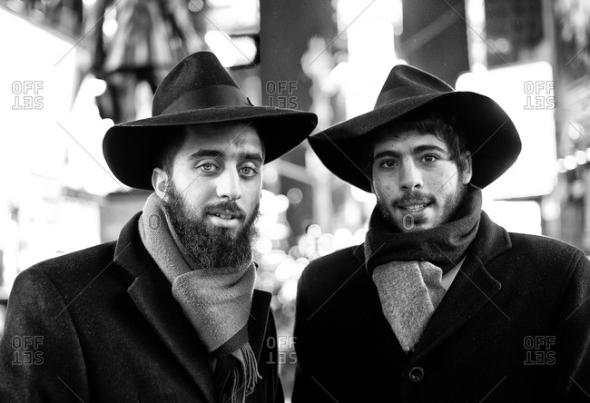 New York, New York - January 11, 2011: Portrait of two Jewish men in Time Square