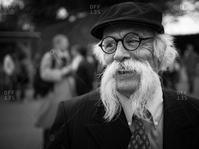 Chichester, United Kingdom - September 14, 2013: Portrait of elderly man with a long mustache at the 2013 Goodwood Revival