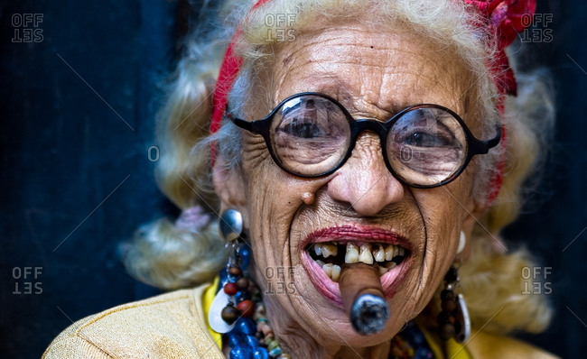 Havana, Cuba - March 4, 2007: Portrait of Smokin' Graciela, a famous cigar lady