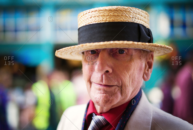 Glasgow, Scotland - July 27, 2013: Elderly man in a vintage boater hat