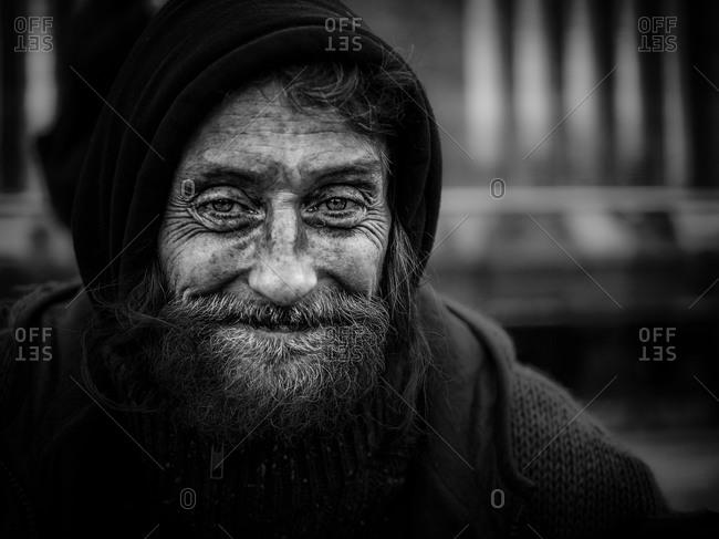 London, United Kingdom - February 19, 2012: Portrait of a homeless man