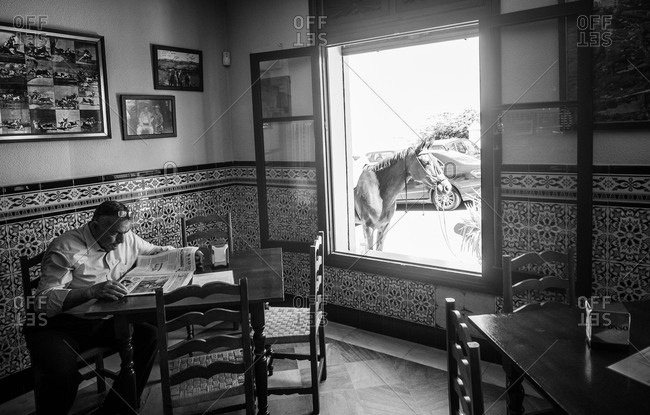Vejer de la Frontera, Spain - April 30, 2014: Man reading newspaper while a horse waiting outdoors