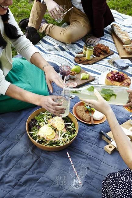 Woman serving homemade lemonade on a picnic