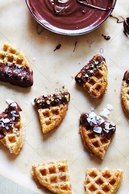 Waffle bites dipped into melted chocolate
