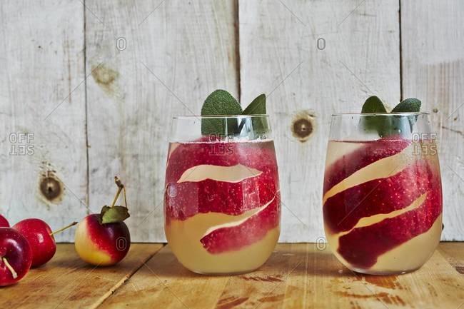 Apple vodka served