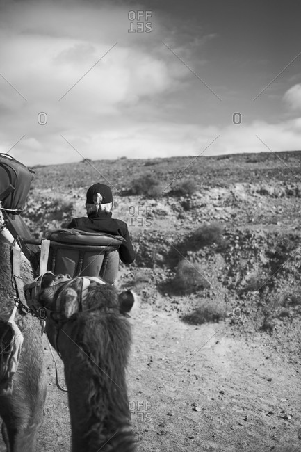 Woman riding on camel