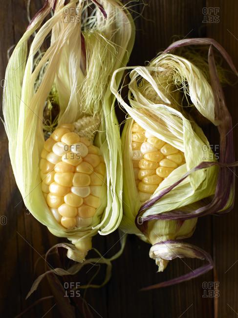 Two ears of baby corn half shucked