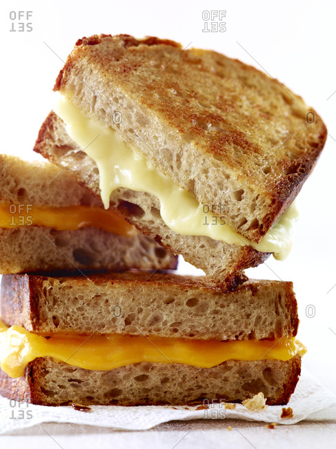 Stacks of grilled cheese sandwich