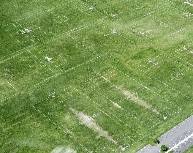 Aerial view of public soccer fields near Linden, New Jersey