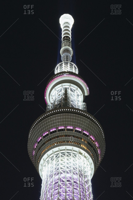 September 11, 2014 - Tokyo, Japan: Low angle view of illuminated Tokyo Skytree against sky at night
