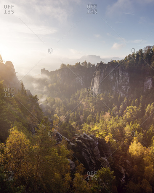 Saxony Swiss Bastei autumn sunrise