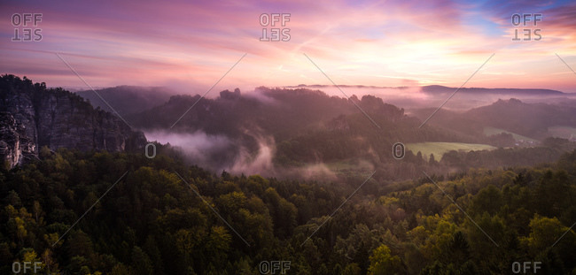 Foggy morning at saxony swiss panorama