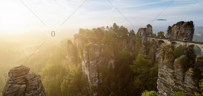 Bastei bridge at morning light