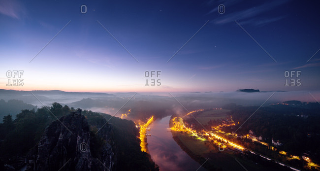Night Panorama of Bastei - Saxony Swiss