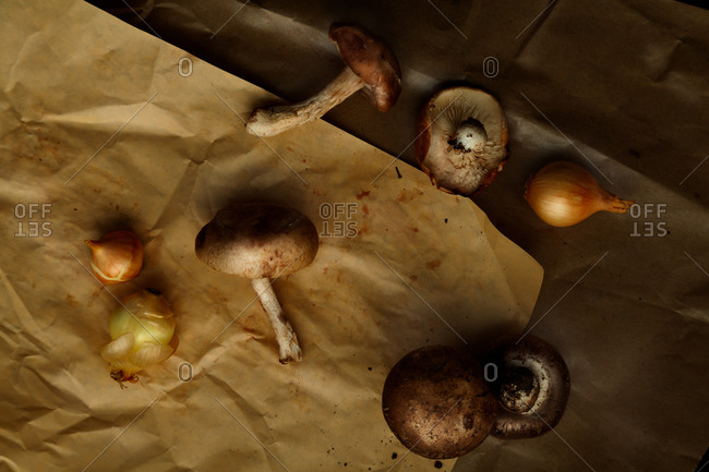 Mushrooms and onions scattered on butcher paper