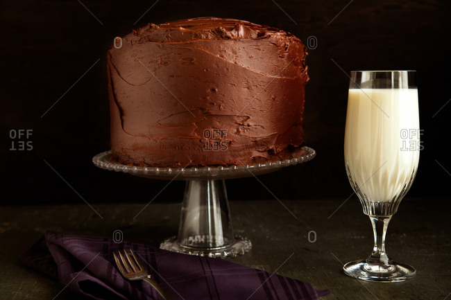 Chocolate cake with a glass of milk