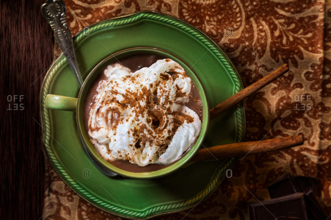 Hot chocolate served with cinnamon