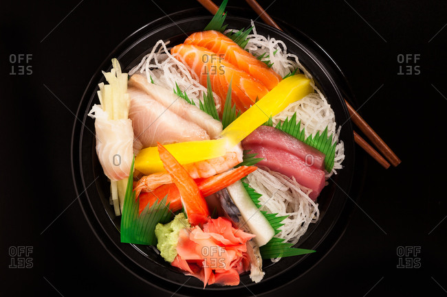Japanese sashimi served in a bowl