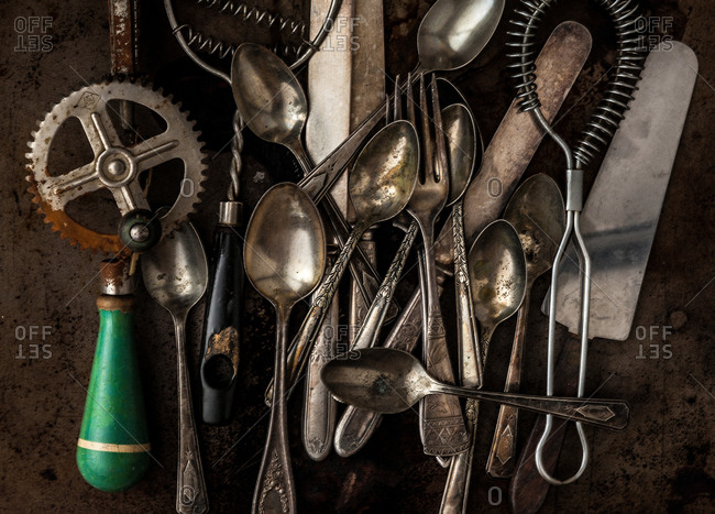 Rusty utensils on a white plate