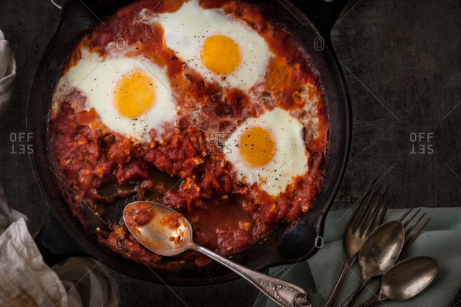 Shakshuka in a cast iron skillet
