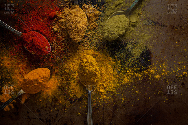 Spice assortment on a tabletop