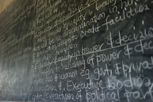 A chalkboard at the Komai school program in Luchenza, Malawi
