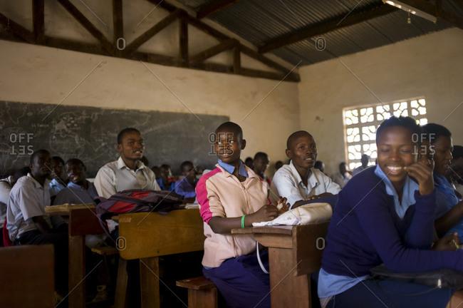 Luchenza, Malawi - April 18, 2013: A classroom full of students at the Komai school program