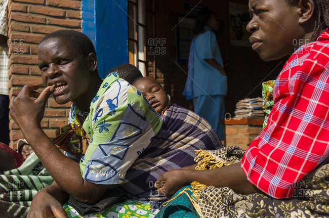 Luchenza, Malawi - April 25, 2013: HIV infected patients come to the Mangunda Health Center for their routine check up