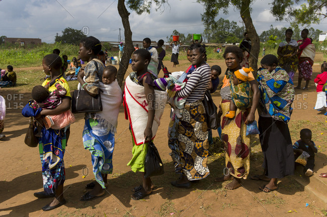 Luchenza, Malawi - April 25, 2013: HIV infected patients and their babies wait for their checkup at Mangunda Health Center