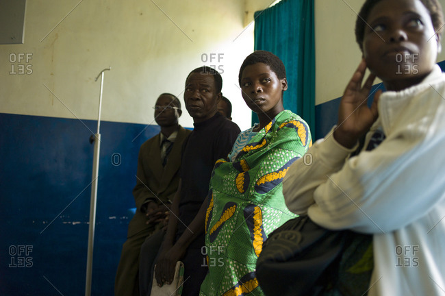 Luchenza, Malawi - April 25, 2013: HIV infected patients wait for treatment at Mangunda Health Center