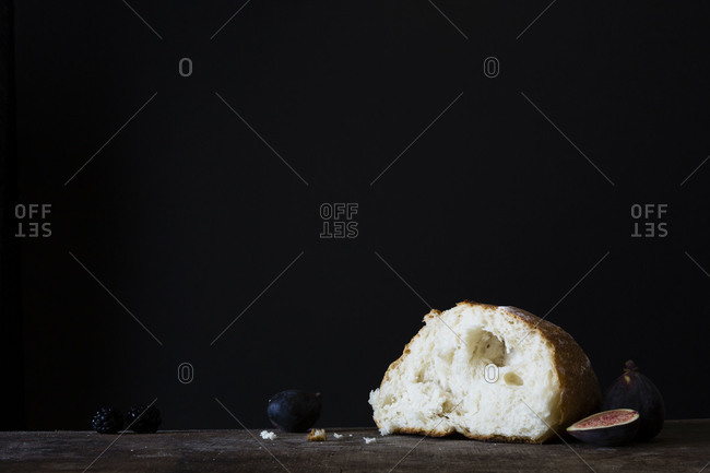 Piece of bread with fruits