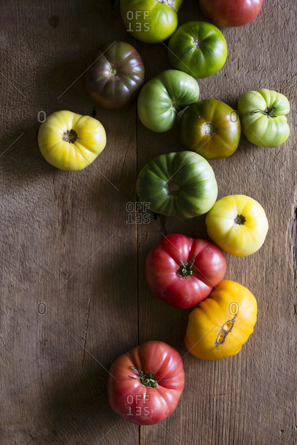 Close up of colorful heirloom tomatoes