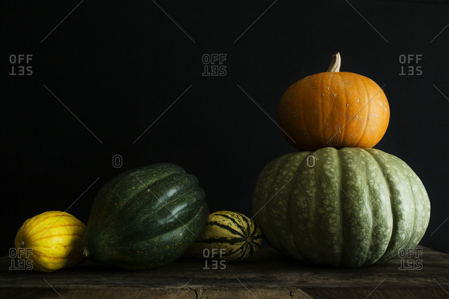 Different kinds of squash and pumpkins