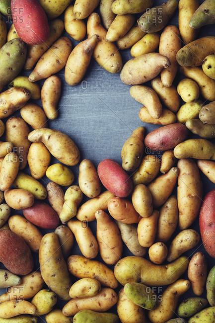 Raw potatoes form a hole