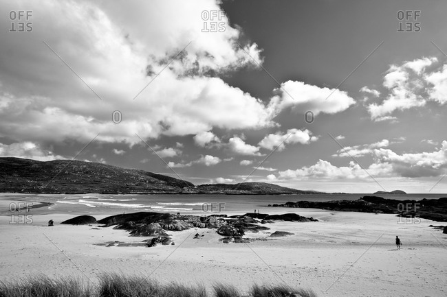 White Sandy Beach on the Irish Coast around the Ring of Kerry, Ireland