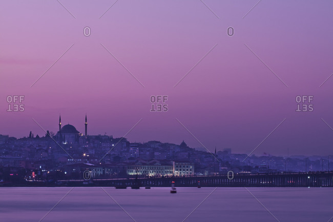 View of Istanbul Skyline from Under the Galata Bridge at Sunset