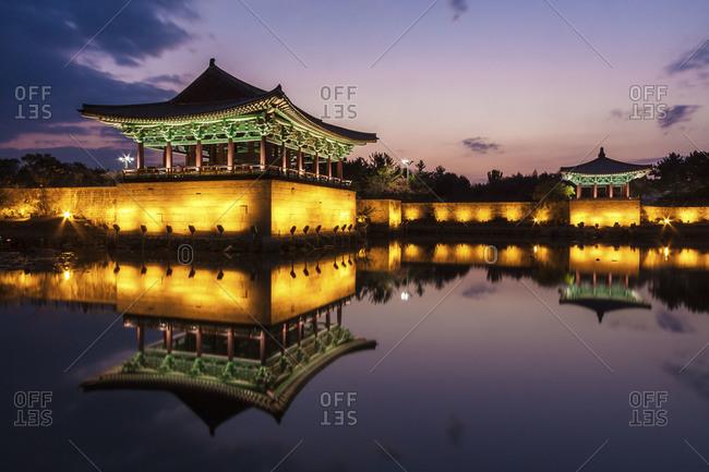 Anapji Pond Temples at Sunset, Gyeongju National Park, South Korea