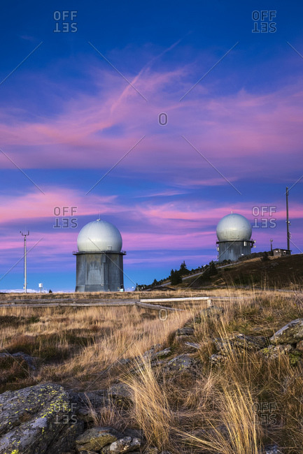 View of radome on Grosser Arber in the evening