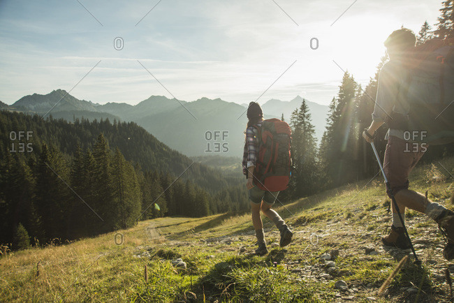 Young couple hiking in sunlight on alpine meadow, Tannheimer Tal,