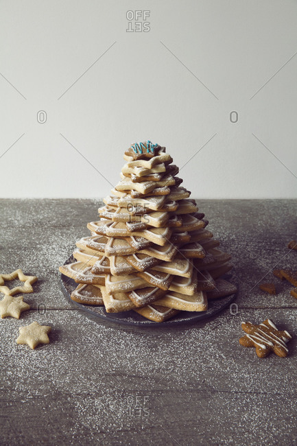 Christmas tree made with star cookies