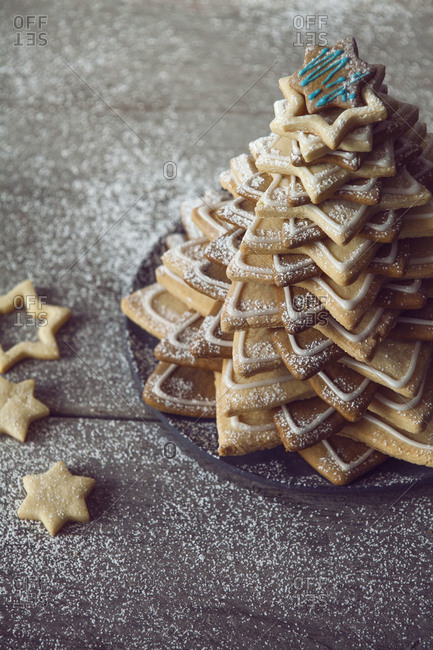 Close up of a christmas tree made with star cookies
