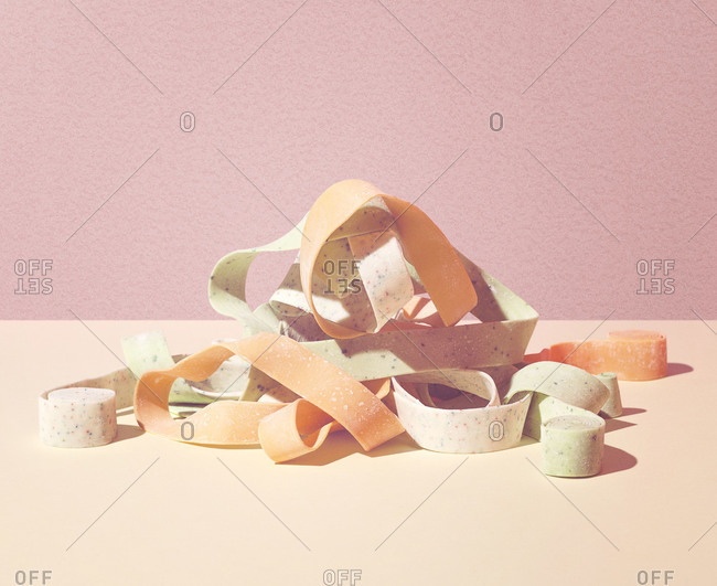Pile of unrolled bubble gum ribbon