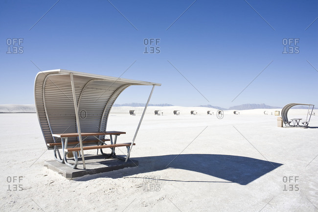 Picnic shelters at  White Sands National Monument