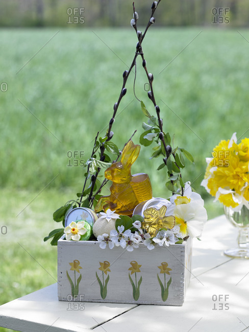 An Easter basket on a picnic table