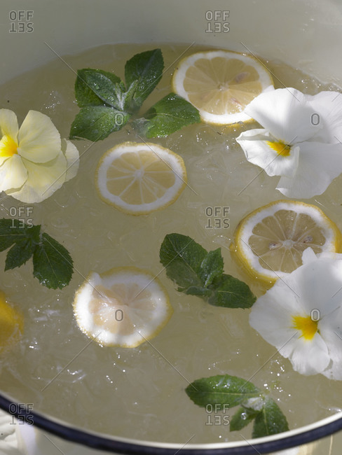 Lemonade served in a punch bowl