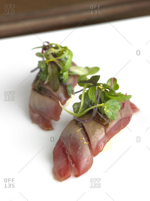 Two pieces of tuna sushi