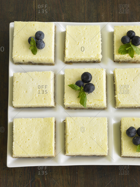 Cheesecake bars cut into squares