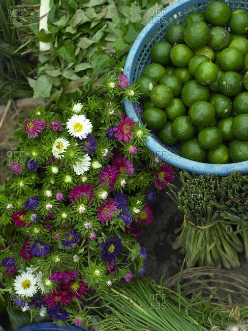 Flowers at the Hoi An Market in Vietnam